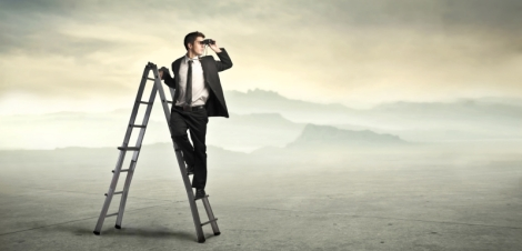 Businessman sulla scala